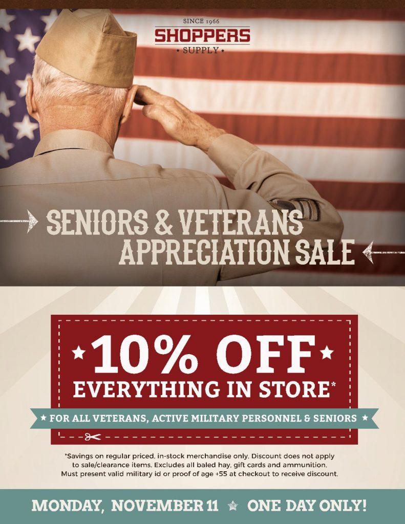 Shoppers Supply Seniors & Veterans Appreciation Sale ad
